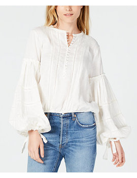 Cotton Embroidered Bell Sleeve Top by Free People