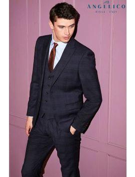 Blue Signature Check Slim Fit Suit: Jacket by Next