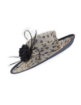 Spotted Side Sweep Derby Hat by Neiman Marcus