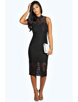 Boutique Lace High Neck Bodycon Midi Dress by Boohoo