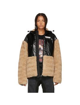 Khaki & Black Faux Shearling Jacket by Alexander Wang