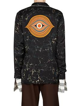 Swirl Print Satin Wrap Shirt by Dries Van Noten