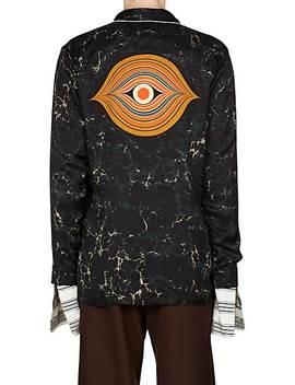 Swirl Print Satin Wrap Shirt by Dries Van Noten