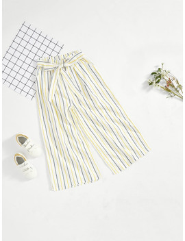 Girls Striped Wide Leg Pants With Belt by Shein
