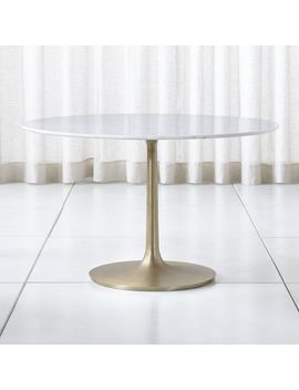 "Nero 48"" White Marble Dining Table by Crate&Barrel"