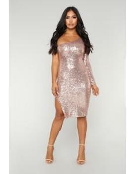 Fiona Sequin Dress   Champagne by Fashion Nova