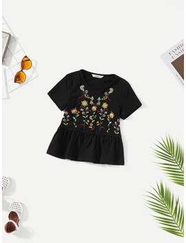 Girls Floral Embroidered Peplum Top by Shein