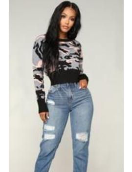 Homage Camo Sweater   Black/Combo by Fashion Nova