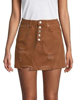 Distressed Denim Mini Skirt by Free People