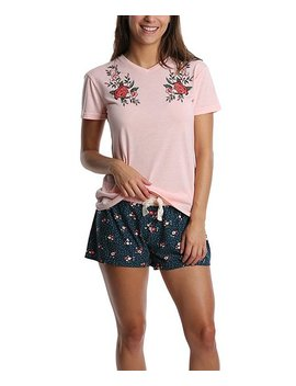 Blush &Amp; Navy Floral Pajama Set   Juniors by Wall Flower
