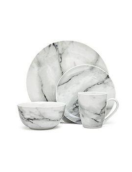 16 Piece Carrera Natural Marble Design Porcelain Dinner Dinnerware Dining Set With Service For 4 by Godinger Silver Art