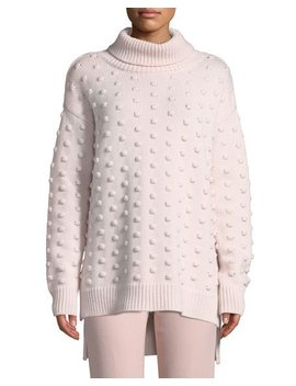 Dotted Turtleneck Wool Cashmere Pullover Sweater by Lela Rose