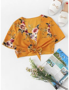 Floral Print Knot Front Top by Romwe