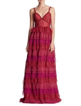 Ruffle And Lace Evening Gown by Marchesa Notte