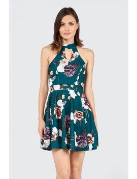 Aw Floral Choker Skater Dress by Select