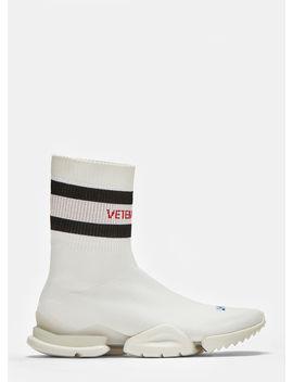 X Reebok Logo Jacquard Stretch Knit Sock Sneakers In White by Vetements