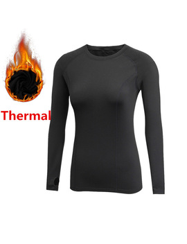 Thermal T Shirts For Women Gyms Fitness Tees Long Sleeve Fleece Autumn Winter Spring Compression Tops Warm Slim Fit Clothing by Ali Express