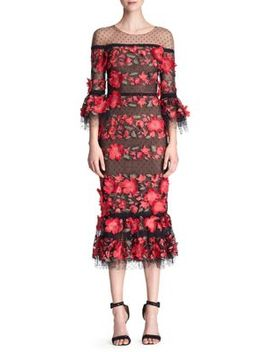 Quarter Sleeve Floral Embroidered Cocktail Dress by Marchesa Notte