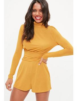 Yellow Tie Back Pleated Shoulder Playsuit by Missguided