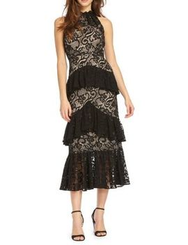 Ruffled Halter Midi Dress by Ml Monique Lhuillier