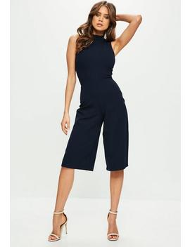 Navy High Neck Culotte Jumpsuit by Missguided
