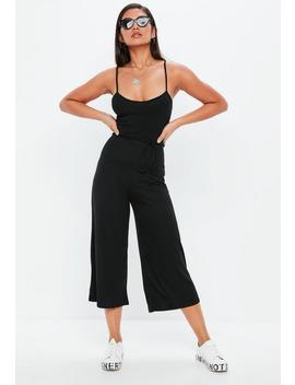 Black Ribbed Culotte Jumpsuit by Missguided