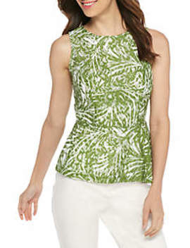 Sleeveless Printed Lace Peplum Top by The Limited