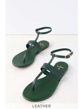 Colleen Forest Green Leather Flat Sandals by Lulu's