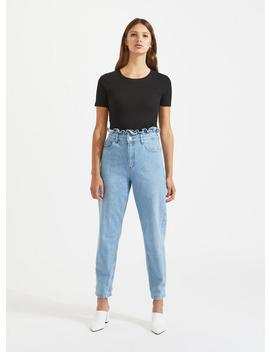 Mom Mid Wash Frill Top Jeans by Miss Selfridge