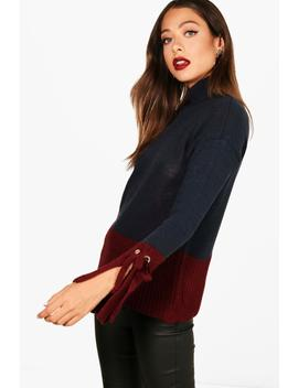 Colour Block Flute Sleeve Jumper by Boohoo