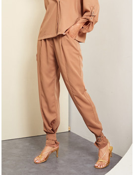 Adjustable Belted Hem Solid Pants by Shein
