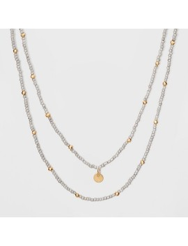 Two Row Beaded With Round Disc Charm Layered Necklace   Universal Thread™ Gray by Shop All Universal Thread™