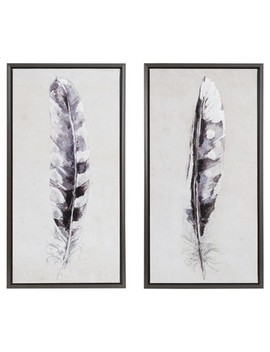 Flight Feathers Framed Gel Coat Canvas 2pc Set 19.09 X 34.06 X 3.7   Trends International by Target