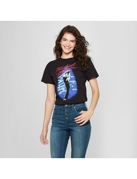 Women's Micheal Jackson Short Sleeve Graphic T Shirt (Juniors') Black by Shop All Mighty Fine