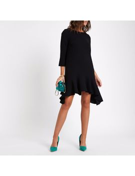 Black Frill Peplum Hem Swing Dress by River Island