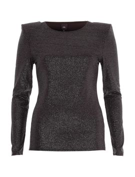 Black Glitter Shoulder Pad Fitted Top by River Island
