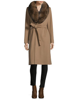 Fox Fur Trim Belted Wool Wrap Coat by Hiso