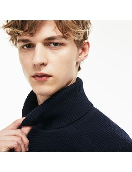 Men's Stand Up Neck Honeycomb Wool And Cotton Sweater by Lacoste