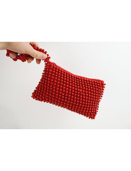 Vintage 60s Red Glass Beaded And Woven Wristlet Pouch Clutch Bag by Mttc