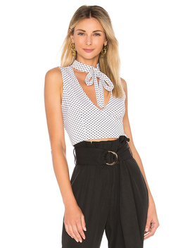 Edie Polka Dot Neck Tie Top by By The Way.
