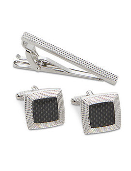 Men's Textured Dome Cuff Links & Tie Bar Set by Perry Ellis