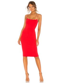 Asymmetrical Strap Midi Dress by David Lerner