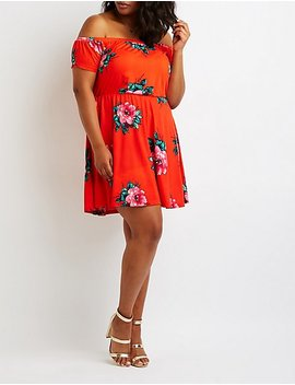 plus-size-floral-off-the-shoulder-dress by charlotte-russe