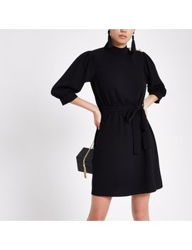 Black Button Shoulder Tie Waist Swing Dress by River Island