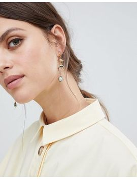 Asos Design Premium Gold Plated Strand Earrings In Moon And Star Design With Semi Precious Stone by Asos Design