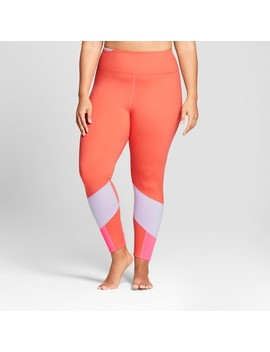 Women's Plus Comfort Color Block Mid Rise Leggings   Joy Lab™ Coral by Shop All Joy Lab™
