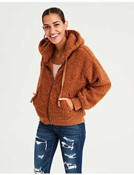Ae Sherpa Full Zip Hoodie by American Eagle Outfitters