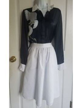 Express Bright White 100% Cotton Midi Skirt W/ Pockets S 4/6 by Express