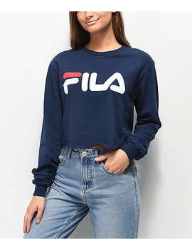 Fila Logo Navy Long Sleeve Crop T Shirt by Fila