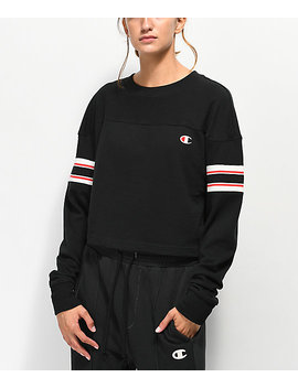 Champion Stripe Black Crop Long Sleeve T Shirt by Champion